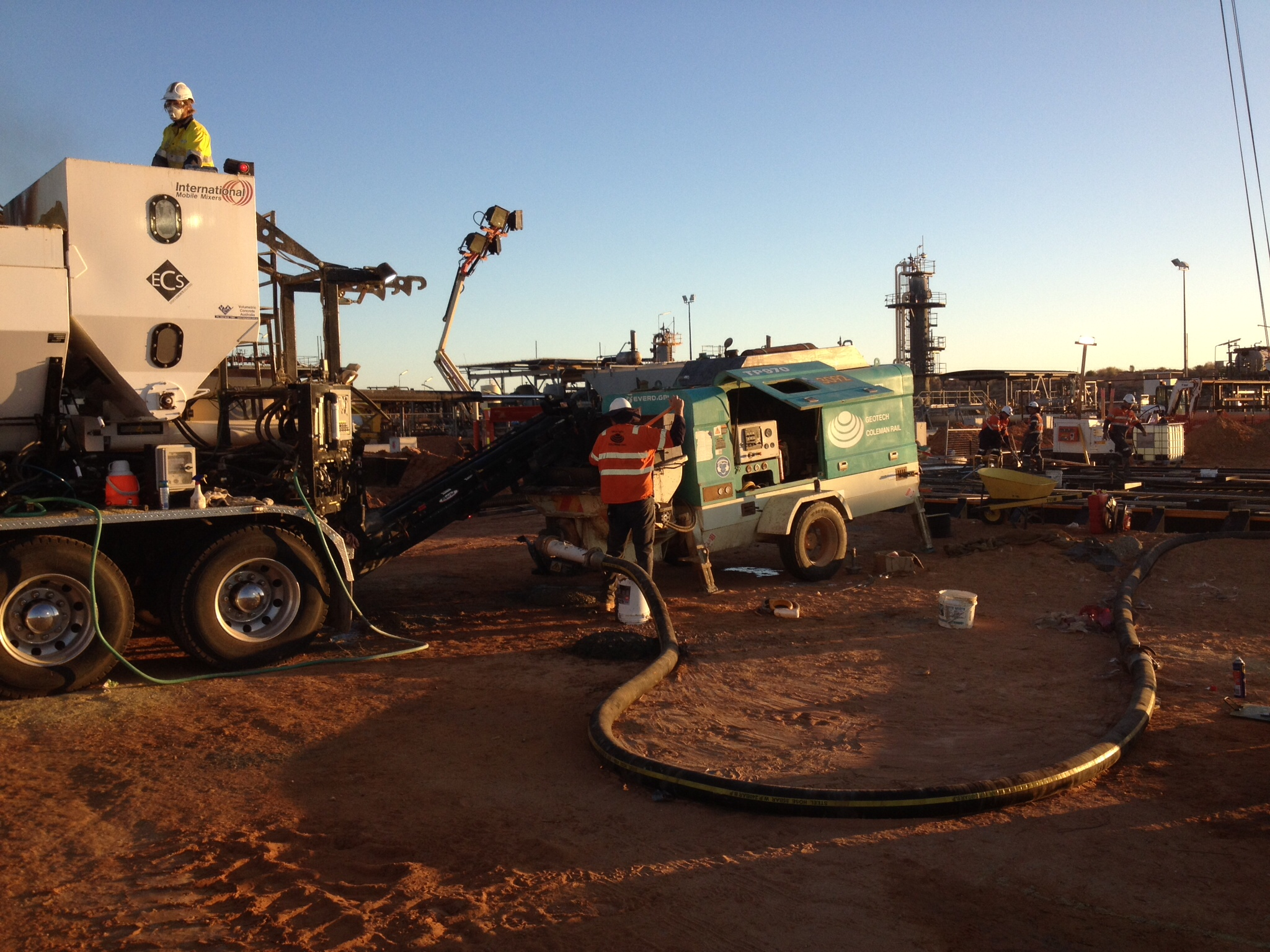 concrete mixing truck remote area